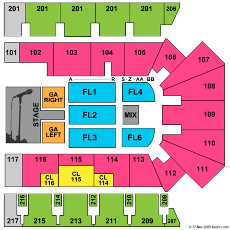 Daughtry Seating Map American Bank Center