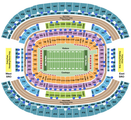 Football Seating Map At T Stadium