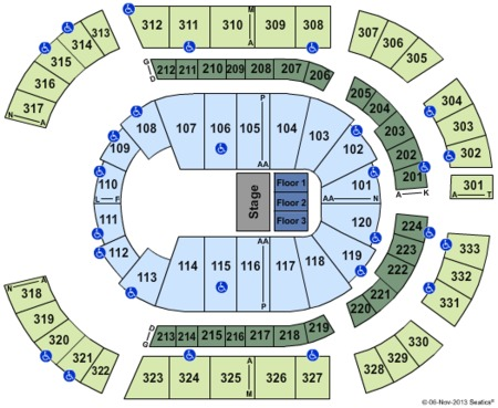 Disney Live Seating Map Bridgestone Arena
