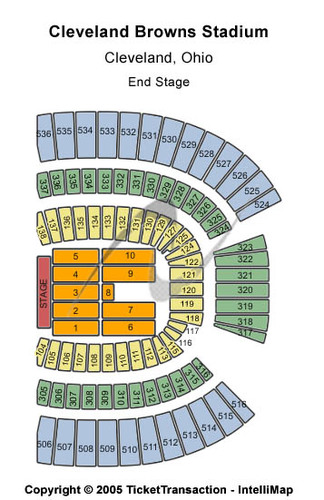 End Stage Seating Map Cleveland Browns Stadium