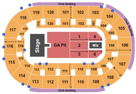 Shinedown Seating Map Germain Arena