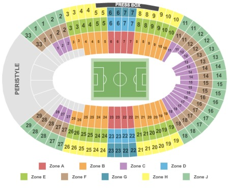 Soccer Int Zone Seating Map Los Angeles Memorial Coliseum