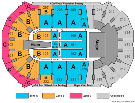 End Stage Zone Seating Map Resch Center