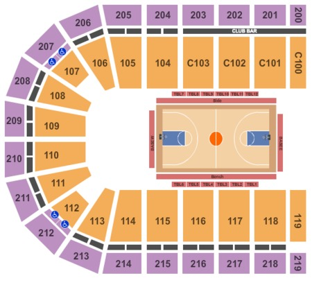 Basketball Seating Map Sears Centre Arena
