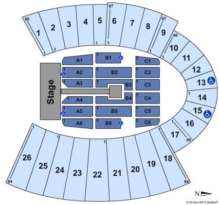 One Direction Seating Map Sun Bowl Stadium
