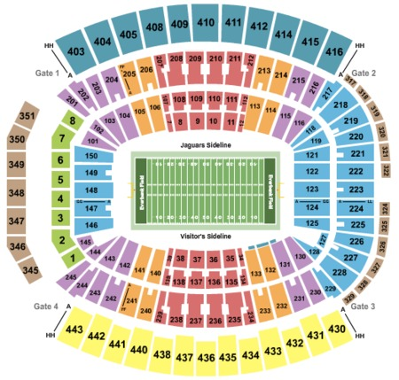 Football Seating Map Everbank Field