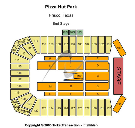 End Stage Seating Map Toyota Stadium