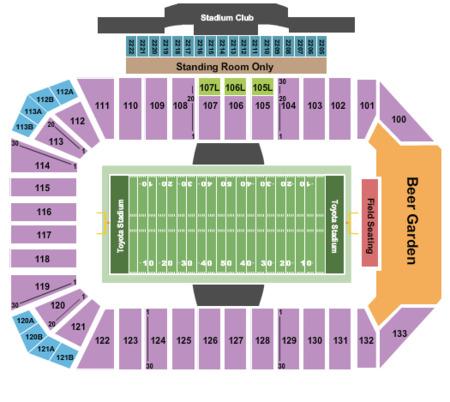 Football Seating Map Fc Dallas Stadium