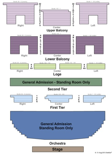 Endstage Ga Seating Map Wellmont Theatre