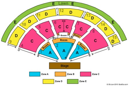 End Stage Zone Seating Map Xfinity Center