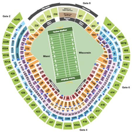 2018 New Era Pinstripe Bowl Seating Map Yankee Stadium